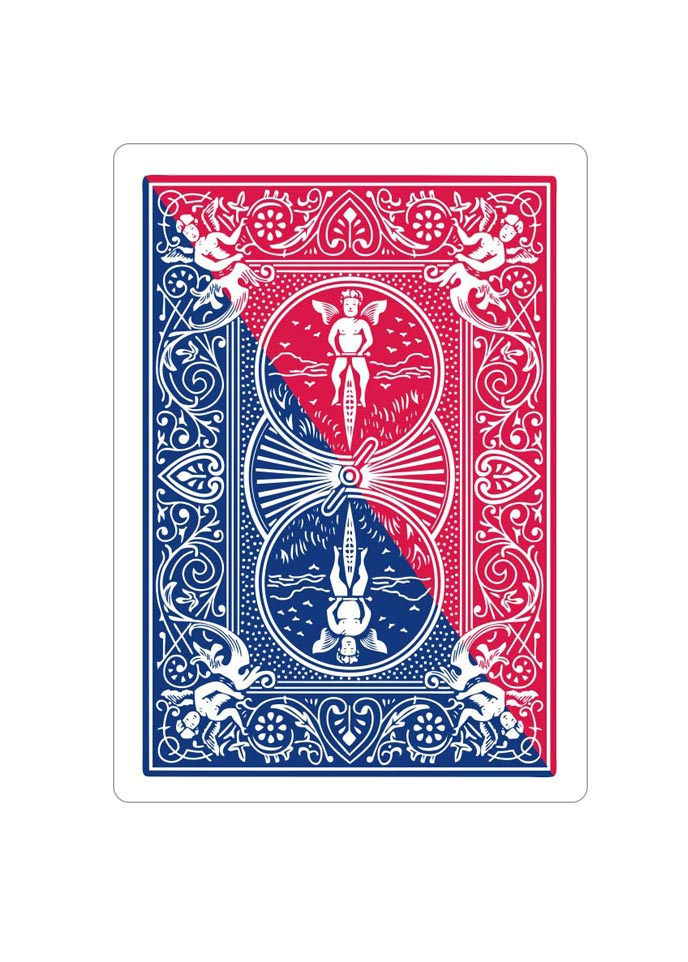 diagonal split red blue bicycle playing card gimmick. Black Bedroom Furniture Sets. Home Design Ideas