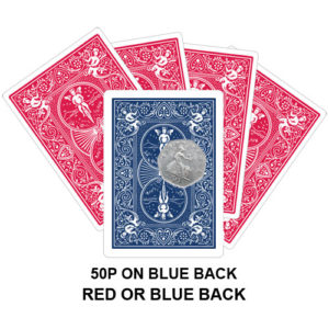 50p On Blue Back Gaff Playing Card