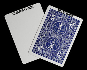 We custom print directly onto a blue backed bicycle playing card