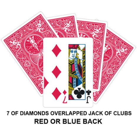 seven of diamonds/overlapped jack of clubs gaff card