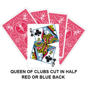 Queen Of Clubs Cut In Half Gaff Card