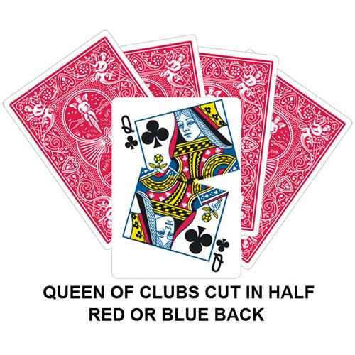 Queen Of Clubs Cut In Half Gaff Card