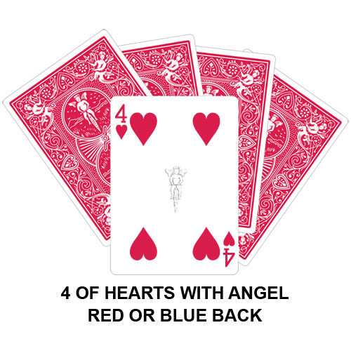 Four Of Hearts With Angel Gaff Card