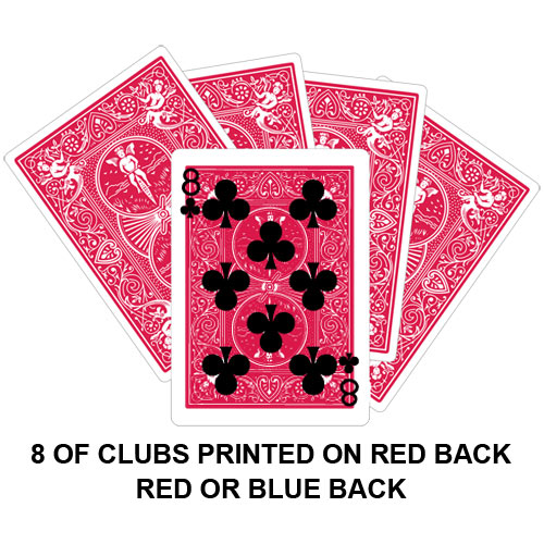 Eight Of Clubs Printed On Red Back Gaff Card