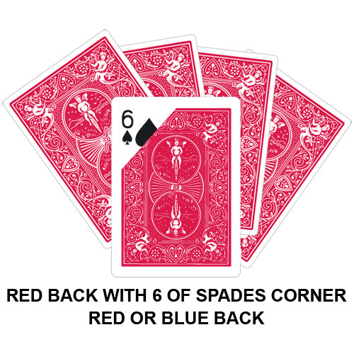 Red Back With Six Of Spades Corner Gaff Card