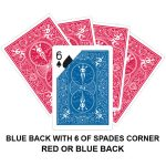 Blue Back With Six Of Spades Corner Gaff Card