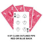 Six Of Clubs Outlined Pips Gaff Card