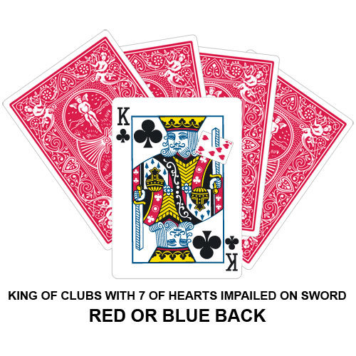 King Of Clubs With Seven Of Hearts Impailed On Sword Gaff Card