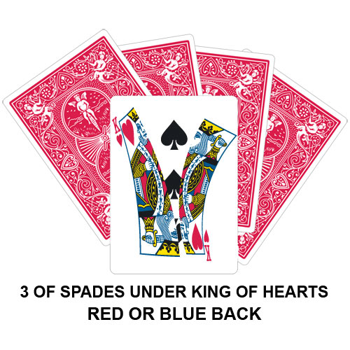 Three Of Spades Under King Of Hearts Gaff Card