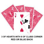 Three Of Hearts With Eight Of Clubs Corner Gaffed Card