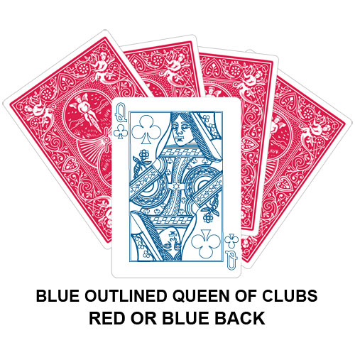Blue Outlined Queen Of Clubs Gaff Card