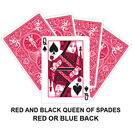 Red And Black Queen Of Spades Gaff Card