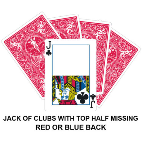 Jack Of Clubs With Top Half Missing Gaff Playing Card