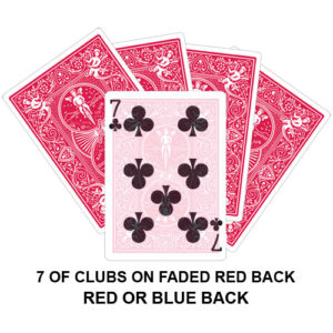 Seven Of Clubs On Faded Red Back Gaff Playing Card