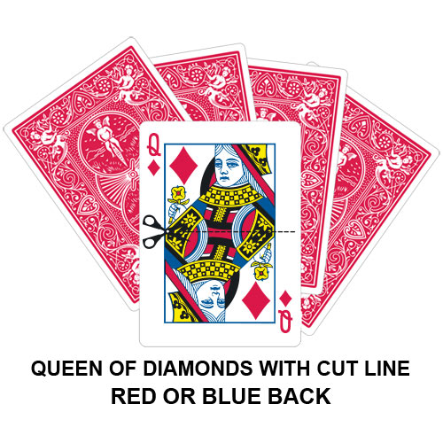 Queen Of Diamonds With Cut Line Gaff Playing Card