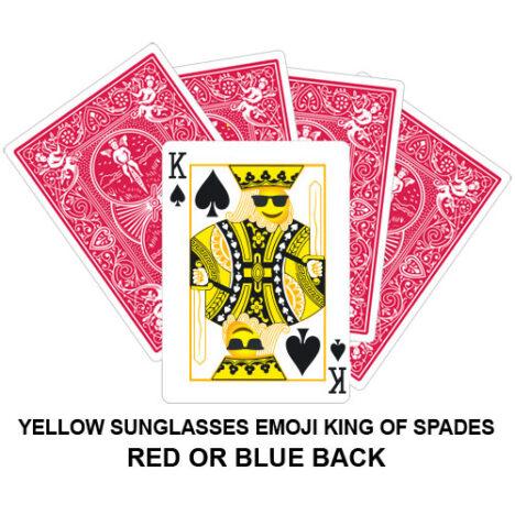 Yellow Sunglasses Emoji King Of Spades Gaff Playing Card