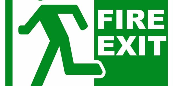 Fire Exit Sign Plastic Printed UV 21x21cm