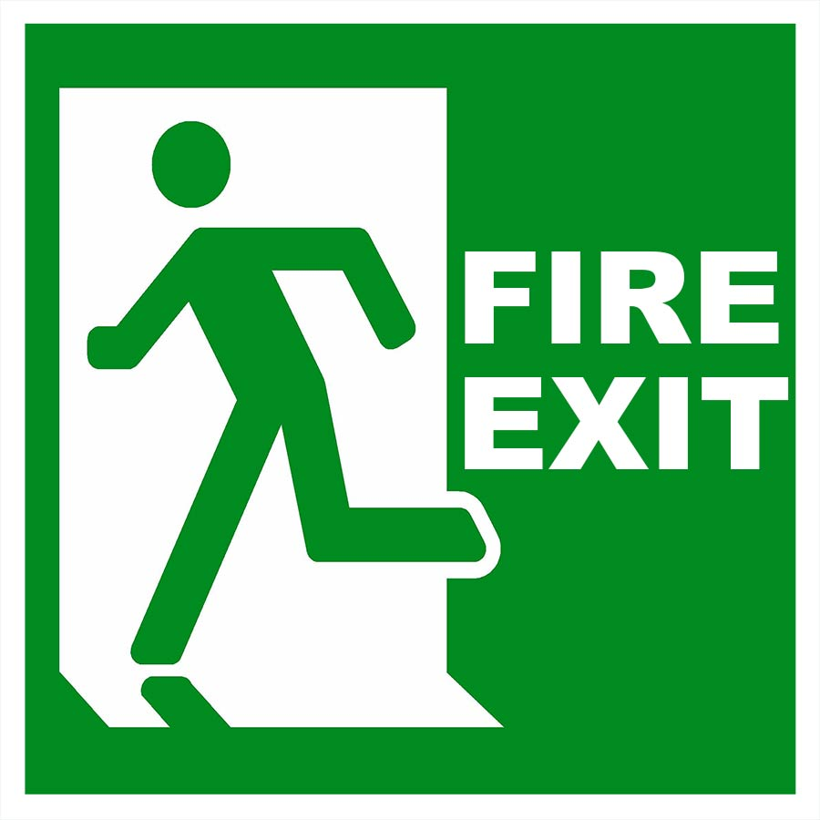 fire exit sign plastic uv printed 21x21cm health and. Black Bedroom Furniture Sets. Home Design Ideas