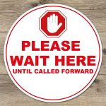 please wait here floor stickers vinyl social distancing