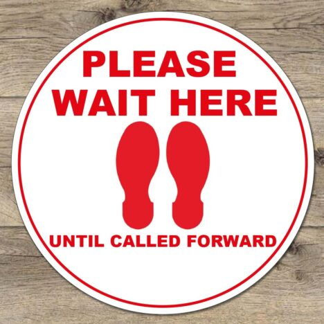 please wait here social distancing stickers