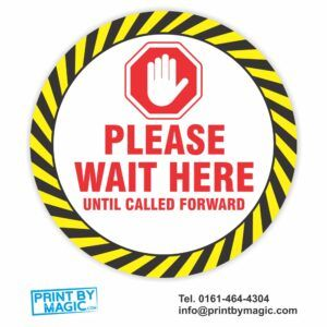 Please wait here until called forward Floor Sticker