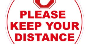 PLEASE KEEP YOUR DISTANCE FLOOR STICKERS