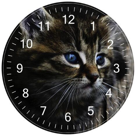 cat clock white