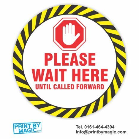 Please wait here until called forward Floor Sticker