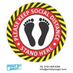 PLEASE KEEP SOCIAL DISTANCE STAND HERE VINYL STICKERS
