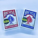 Empty card boxes bicycle playing cards red and blue