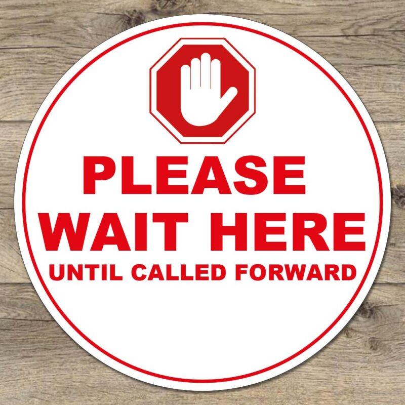 please wait here floor stickers vinyl social distancing
